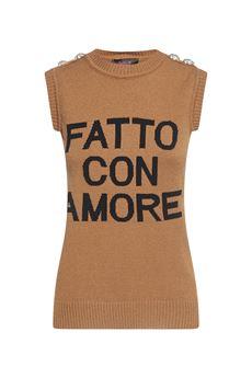 Maglione gilet ''Fatto con Amore'' Giulia N GIULIA N | Maglione | GI2025NOCCIOLA