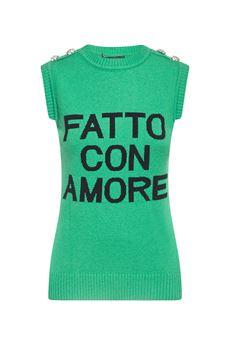 Maglione gilet ''Fatto con Amore'' Giulia N GIULIA N | Maglione | GI2025VERDE