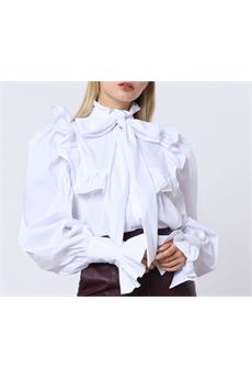 Camicia con rouche e maxi fiocco Imperial IMPERIAL | Camicia | CJB8ABFBIANCO