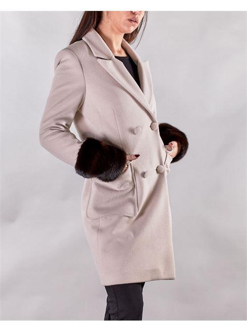 Cappotto doppiopetto con maniche in pelliccia Yes London YES LONDON | Cappotto | YL268GRIGIO