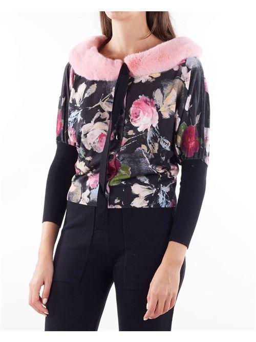 Maglia fantasia fiori con ecopellicia sul collo Blugirl BLUGIRL | Maglia | 50007326
