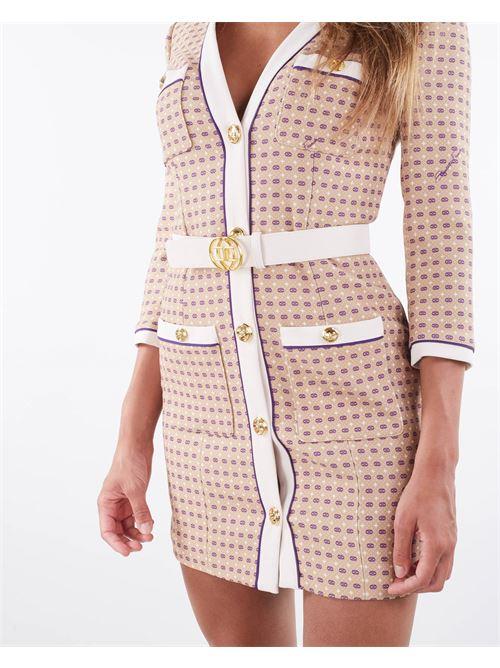 Abito robe manteau in stampa cravatta con cintura Elisabetta Franchi ELISABETTA FRANCHI | Abito | AB09416E2Z60