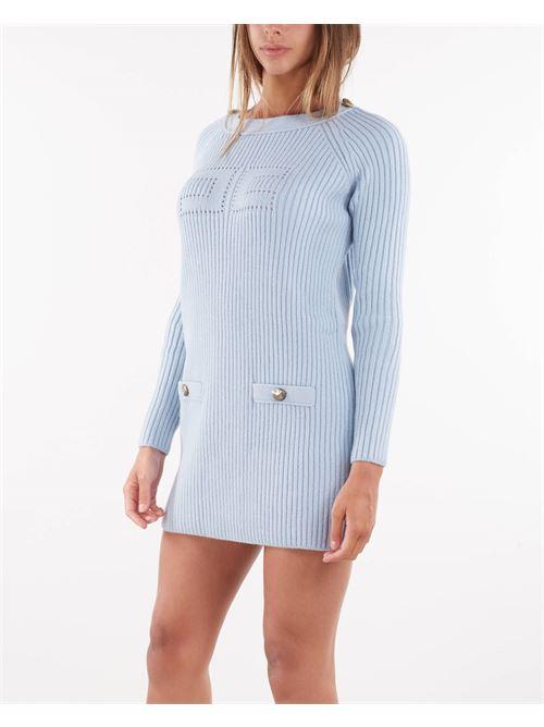 Mini abito in maglia con logo traforato Elisabetta Franchi ELISABETTA FRANCHI   Abito   AM43G16E2Q80