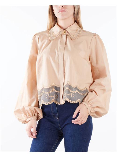 Camicia in micro rete con plastron in pizzo Elisabetta Franchi ELISABETTA FRANCHI | Camicia | CA30218E2470