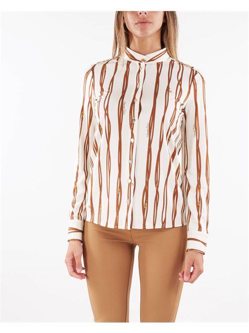 Camicia con collo alla coreana con stampa belt logo Elisabetta Franchi ELISABETTA FRANCHI   Camicia   CA30716E2Q99