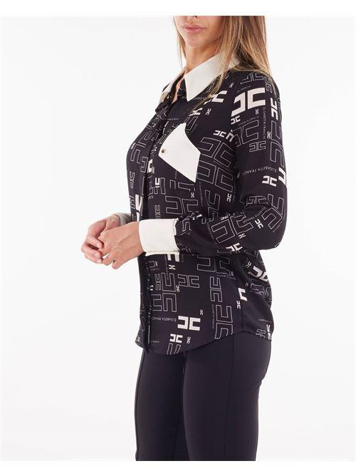 Camicia in georgette con stampa logo bicolor Elisabetta Franchi ELISABETTA FRANCHI | Camicia | CA33216E2685