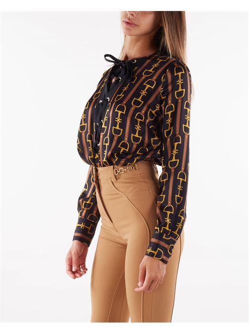Camicia body in raso stampato morsetto Elisabetta Franchi ELISABETTA FRANCHI   Camicia   CB00618E2722