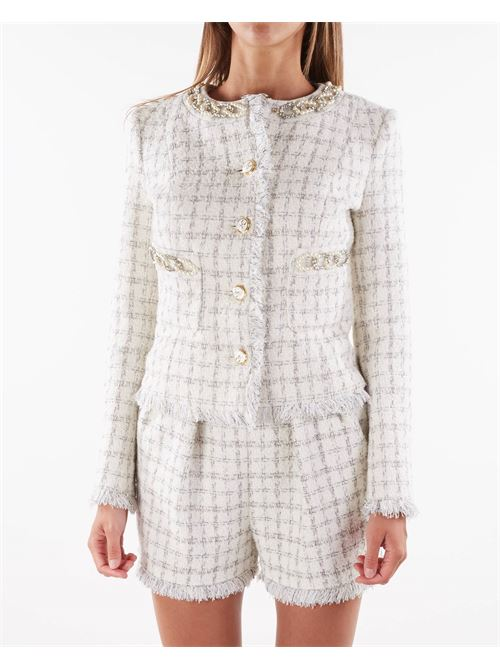 Mini giacca in tweed con perle Elisabetta Franchi ELISABETTA FRANCHI | Giacca | GI97616E2360