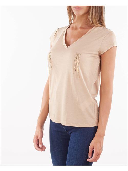 T-shirt scollo a V con applicazioni Elisabetta Franchi ELISABETTA FRANCHI | T-shirt | MA21316E2043