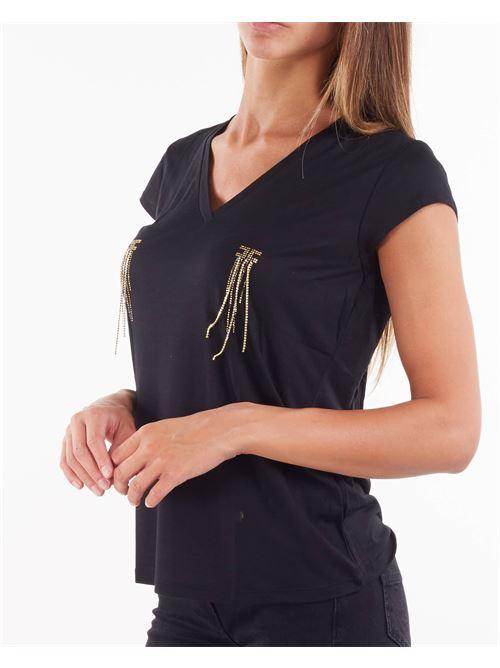 T-shirt scollo a V con applicazioni Elisabetta Franchi ELISABETTA FRANCHI | T-shirt | MA21316E2110