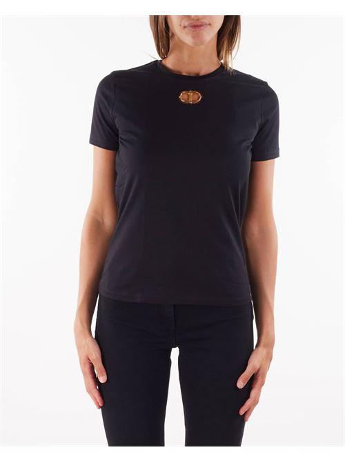 T-shirt con oblò oro chiaro Elisabetta Franchi ELISABETTA FRANCHI | T-shirt | MA26N16E2110