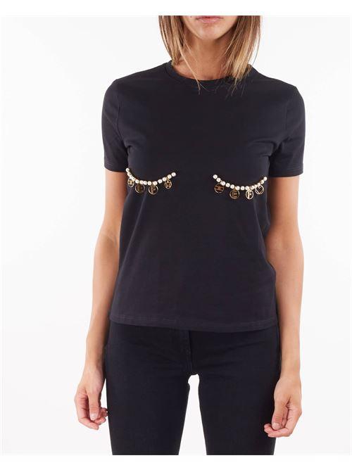 T-shirt con applicazioni di perle e charms Elisabetta Franchi ELISABETTA FRANCHI | T-shirt | MA27N16E2110