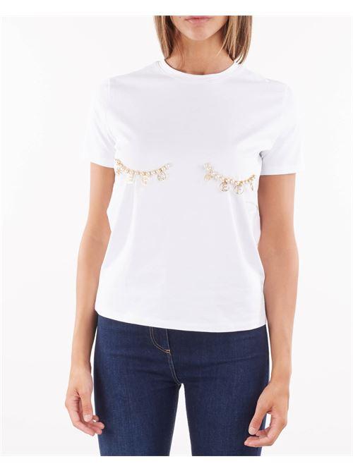 T-shirt con applicazioni di perle e charms Elisabetta Franchi ELISABETTA FRANCHI | T-shirt | MA27N16E2270