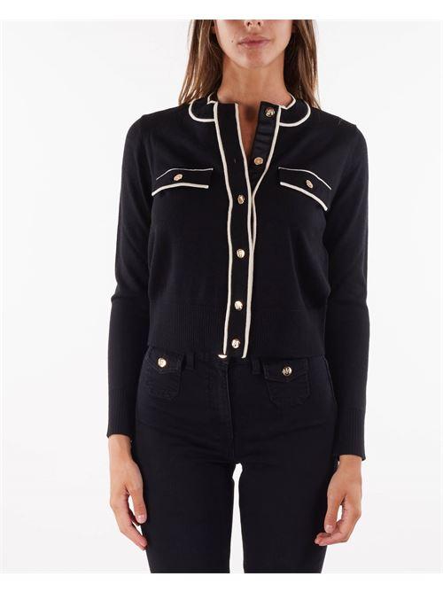 Cardigan con profili a contrasto e bottoni dorati Elisabetta Franchi ELISABETTA FRANCHI | Maglia | MK31S16E2685