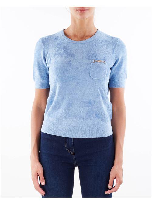 T-shirt in ciniglia con morsetto oro Elisabetta Franchi ELISABETTA FRANCHI | Maglia | MK37S16E2Q80