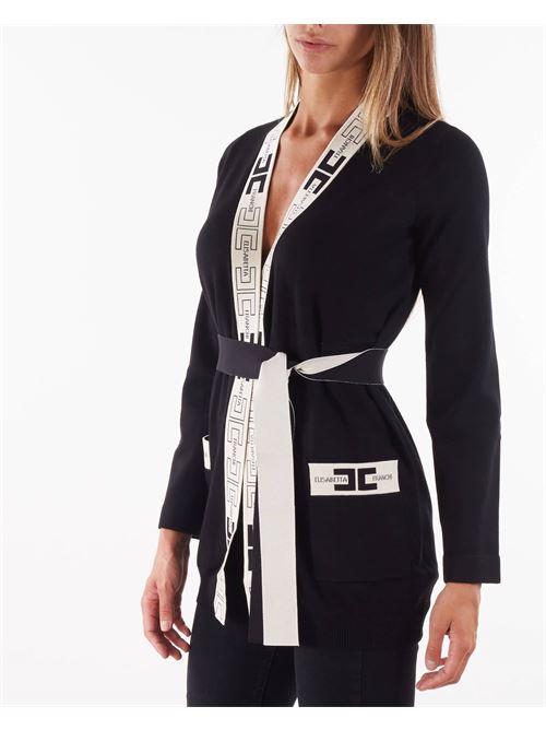 Cardigan stile vestaglia con logo Elisabetta Franchi ELISABETTA FRANCHI   Maglia   MK53S16E2685