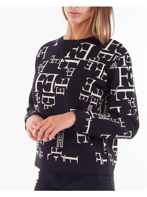 Felpa in maglia over size con stampa lettering Elisabetta Franchi ELISABETTA FRANCHI | Maglia | MK64Q16E2685