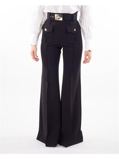 Pantalone palazzo a vita alta con cintura Elisabetta Franchi ELISABETTA FRANCHI | Pantalone | PA01316E2110