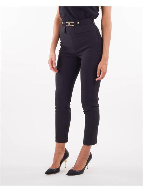 Pantaloni con logo oro chiaro Elisabetta Franchi ELISABETTA FRANCHI | Pantalone | PA38616E2110