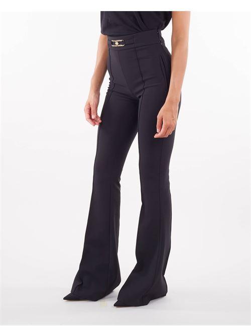 Pantalone a zampa con logo Elisabetta Franchi ELISABETTA FRANCHI | Pantalone | PA38716E2110