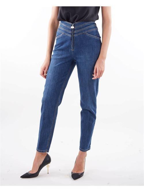 Jeans a vita alta con fascia in vita e logo Elisabetta Franchi ELISABETTA FRANCHI | Jeans | PJ11D16E2139