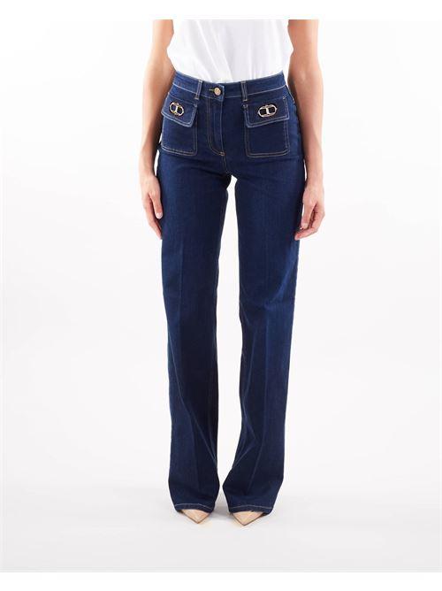 Jeans a palazzo con logo applicato Elisabetta Franchi ELISABETTA FRANCHI   Jeans   PJ18S16E2104