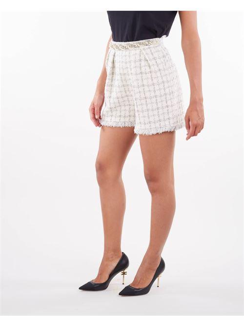 Shorts in tweed con motivo check Elisabetta Franchi ELISABETTA FRANCHI | Shorts | SH00516E2360
