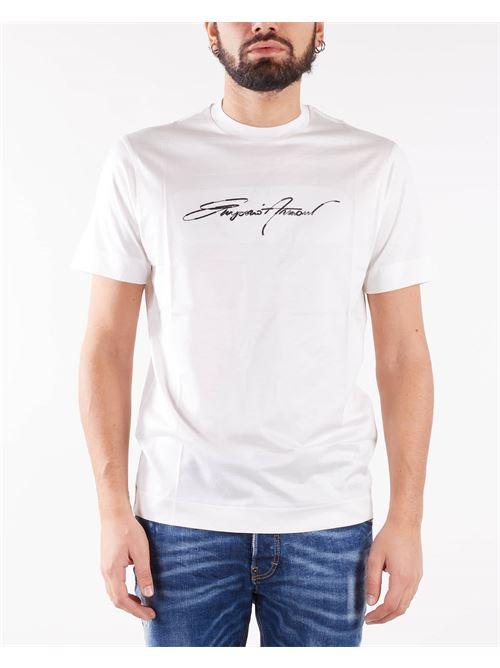 T-shirt in jersey misto Tencel ricamo logo signature Emporio Armani EMPORIO ARMANI | T-shirt | 6K1T781JUVZ101