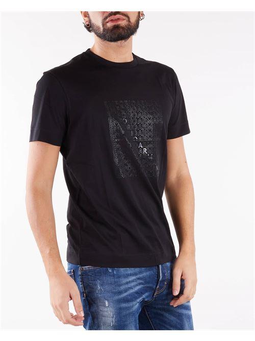 T-shirt in jersey Pima con stampa eagle su logo stencil Emporio Armani EMPORIO ARMANI | T-shirt | 6K1TA51JPZZ28