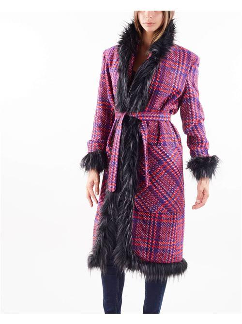Cappotto multicolor con inserti in ecopelliccia Giulia N GIULIA N   Cappotto   GI2151MULTICOLOR