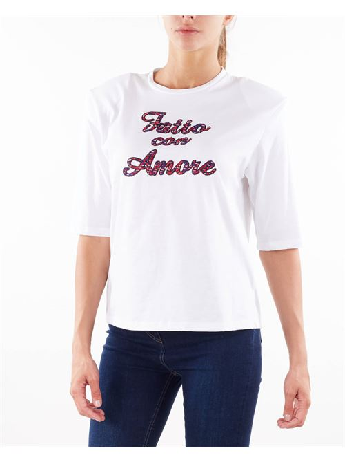 T-shirt con ricamo ''Fatto con Amore'' Giulia N GIULIA N | T-shirt | MARISA13BIANCO