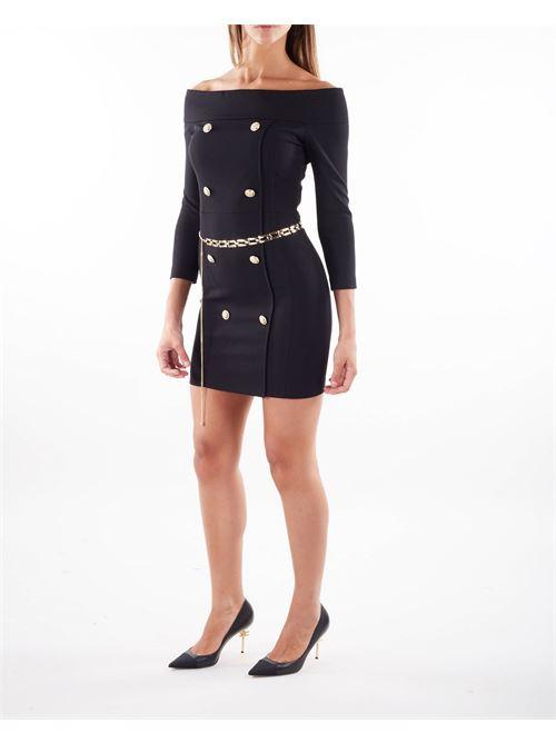 Mini abito alla bardot con bottoni dettaglio Imperial IMPERIAL | Abito | AB8XCDHNERO