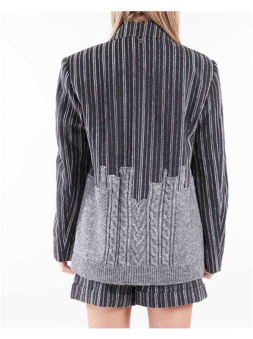 Giacca gessata con inserti in lana Manila Grace MANILA GRACE | Giacca | G273AIMA135