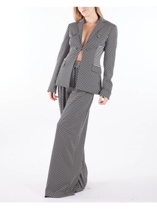Pantaloni a vita alta con fantasia pois Maniela Grace MANILA GRACE | Pantalone | P124PJMA096