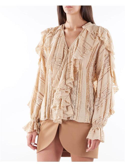 Camicia in pizzo con rouches Matilde Couture MATILDE COUTURE   Camicia   TAYLORCAMMELLO