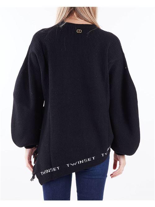 Maxi maglia in misto lana a coste con frange Twinset TWIN SET | Maglia | TT33013710