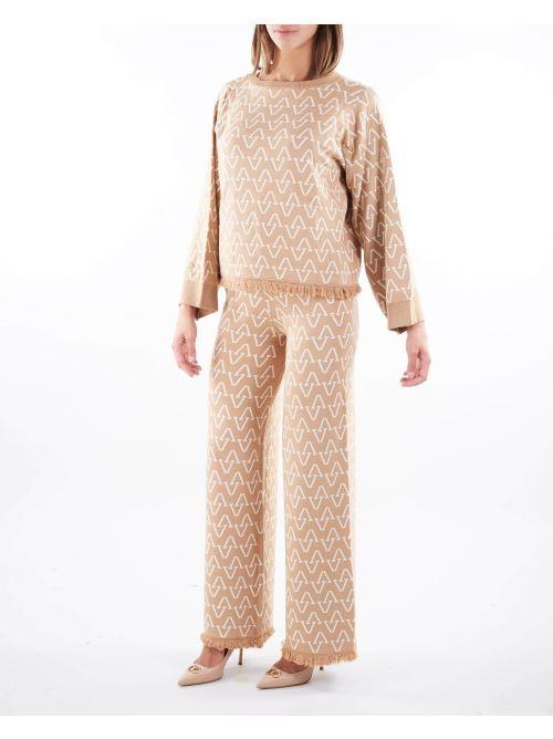 Pantalone in maglia Vicolo VICOLO | Pantalone | 2119XBEIGE-BIANCO
