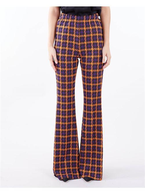Pantalone Maxi Pied-De-Poule a Zampa Vicolo VICOLO | Pantalone | TX0780ARANCIO-VIOLA