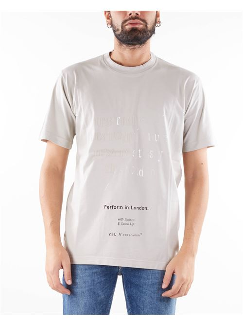 T-shirt con stampa a rilievo Yes London YES LONDON | T-shirt | XM3927GHIACCIO