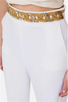 Pantaloni in crèpe con inserto in paillettes Elisabetta Franchi ELISABETTA FRANCHI | Pantalone | PA33302E2360