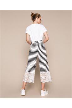 Pantaloni cropped a righe con pizzo Twin Set TWIN SET | Pantalone | TP24732782
