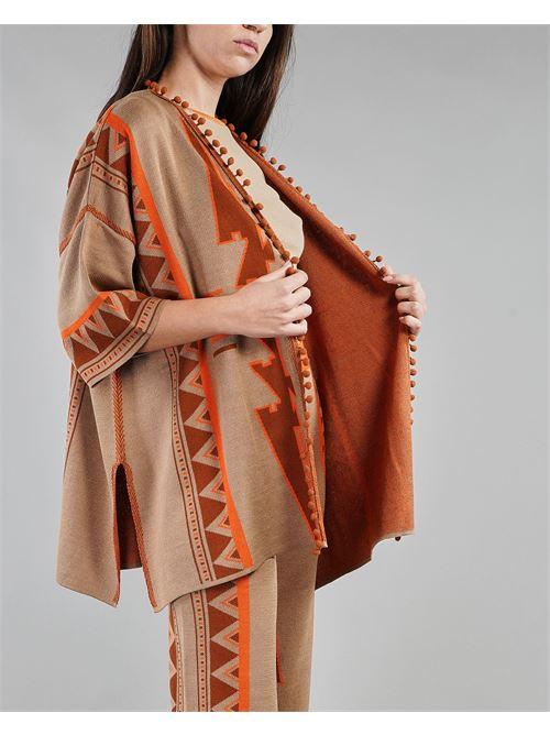 Cardigan multicolor con fantasia geometrica Akep AKEP | Cardigan | KE1035BEIGE