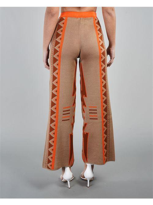 Pantalone cropped a fantasia geometrica Akep AKEP | Pantalone | KE1037BEIGE