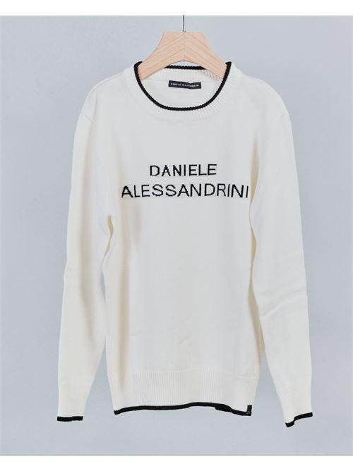 Maglia in filo con logo e bordi a contrasto Daniele Alessandrini DANIELE ALESSANDRINI | Maglia | 1235W0579BIANCO