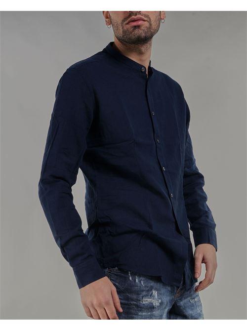 Camicia in lino con collo coreano Daniele Alessandrini DANIELE ALESSANDRINI | Camicia | C1615R1214423