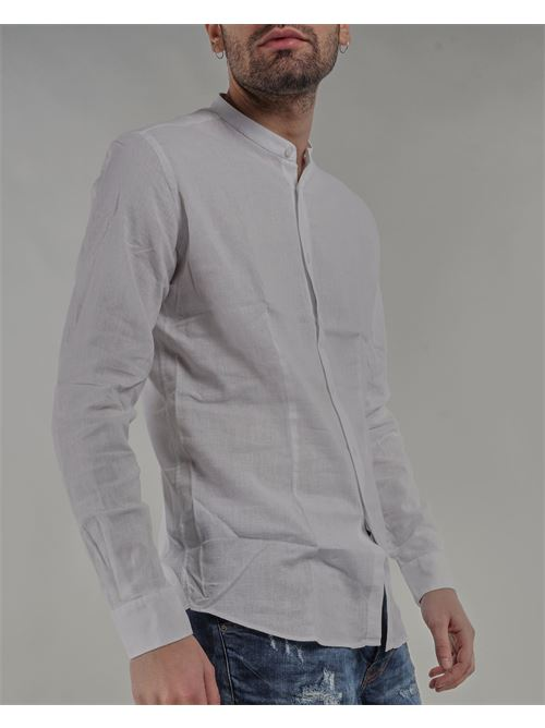 Camicia in lino con collo coreano Daniele Alessandrini DANIELE ALESSANDRINI | Camicia | C1615R121442