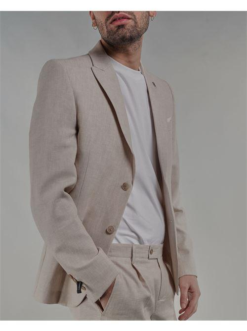 Giacca in misto lino monopetto Daniele Alessandrini DANIELE ALESSANDRINI | Giacca | G3323S2353415