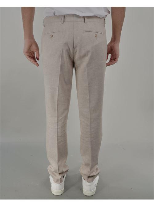 Pantalone con pences in misto lino Daniele Alessandrini DANIELE ALESSANDRINI | Pantalone | P3983S2353415