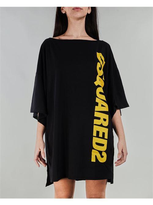 Maxi maglia con logo a contrasto Dsquared DSQUARED | T-shirt | D6M32284014