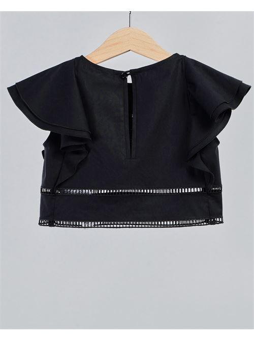 Camicia corta con logo Elisabetta Franchi La Mia Bambina ELISABETTA FRANCHI LA MIA BAMBINA | Camicia | EFCA116CE201WE025N015